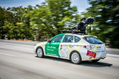 GOOGLE MAPS STREET VIEW CAR!. Google maps street view car on the freeway in Silicon Valley Royalty Free Stock Photos