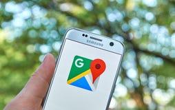 Google- Mapsapp lizenzfreie stockbilder