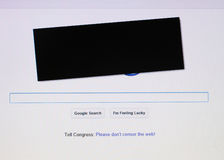 Google mostra a simpatia para o protesto da anti-pirataria Imagem de Stock Royalty Free