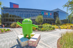 Google Mountain View. Mountain View, California, USA - August 15, 2016: Android Nougat replica in front of Google office in Google headquarters building Stock Images