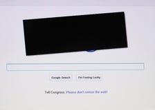 Google muestra la condolencia para la protesta de la anti-piratería Imagen de archivo libre de regalías