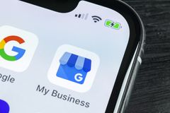 Google My Business application icon on Apple iPhone X screen close-up. Google My Business icon. Google My business application. So. Sankt-Petersburg, Russia stock photos