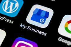 Google My Business application icon on Apple iPhone X screen close-up. Google My Business icon. Google My business application. So. Sankt-Petersburg, Russia, May stock photos