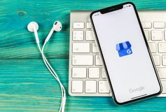 Google My Business application icon on Apple iPhone X screen close-up. Google My Business icon. Google My business application. So. Sankt-Petersburg, Russia royalty free stock photos