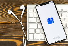 Google My Business application icon on Apple iPhone X screen close-up. Google My Business icon. Google My business application. S. Sankt-Petersburg, Russia, June royalty free stock images