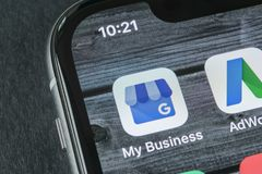 Google My Business application icon on Apple iPhone X screen close-up. Google My Business icon. Google My business application. Sankt-Petersburg, Russia, April royalty free stock photo