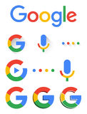 Google new logo 2015. Google logo updated in 2015 and microphone button and several modification including 3d and play buttons and 4 rounds royalty free illustration