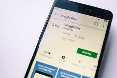 Google Pay app on Xiaomi Redmi Note 4x screen. Yoshkar-Ola, Russia - Ocotber 2018 Google Pay app on Xiaomi Redmi Note 4x screen. Depth of field photography stock photo