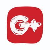 Google più, icona dei media sociali, scarabocchio di colore Fotografie Stock