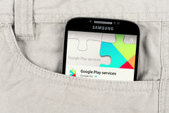 Google play app on the Samsung galaxy display stock photo