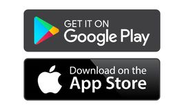 Google play app store. Google play and app store icons on white background - editable vector illustration royalty free illustration
