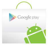 Google play bag with Andriod texture Royalty Free Stock Images