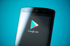 Google Play Logo on Google Nexus 5 Royalty Free Stock Photography