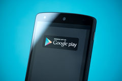 Google Play Sign on Google Nexus 5 Stock Photo