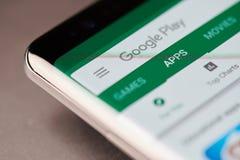 Google play store menu stock photography