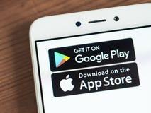Google Play- und App Store-Knöpfe lizenzfreie stockbilder