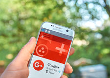 Google plus app. MONTREAL, CANADA - MAY 23, 2016 : Google Plus application on Samsung S7 screen. Google Plus is an interest-based social network that is owned stock images