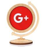 Google plus den pappers- logoen som förläggas i träjordklot Royaltyfria Foton