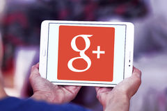 Google Plus logo. Google Plus application logo and vector on samsung tablet in hands royalty free stock photo