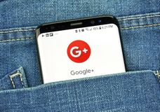 Google Plus on a phone screen in a pocket. MONTREAL, CANADA - OCTOBER 4, 2018: Google Plus app on s8 screen. Google Plus is a social network. Google is an stock photo