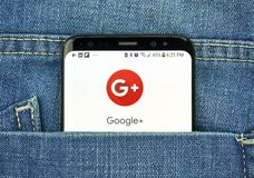 Google Plus on a phone screen in a pocket. MONTREAL, CANADA - OCTOBER 4, 2018: Google Plus app on s8 screen. Google Plus is a social network. Google is an royalty free stock image