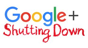 Google plus word with handwritten shutting down words vector illustration