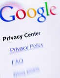 Google privacy. Computer screen with Google main search page closeup. Privacy policy concept focused Royalty Free Stock Photography