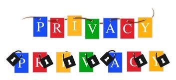 Google-Privatleben färbt Fahne Stockfotografie