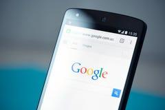 Google söker på Google samband 5 Arkivbilder