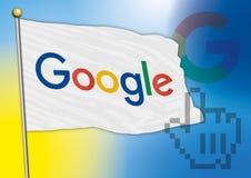 Google señala por medio de una bandera, el nuevo logotipo 2015