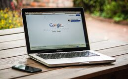 Google Search Engine on Macbook Pro Royalty Free Stock Image