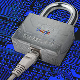 Google security. Secure internet with Google services. Reliable services Google. Internet cable is connected to the castle where the google image search page Royalty Free Stock Photo