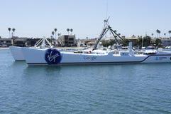 Google Ship. The Google sign on a big boat docked on the sea water near balboa island in New Port Beach, CA Stock Image