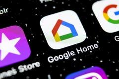 Google si dirige l'icona dell'applicazione sul primo piano dello schermo dello smartphone di iPhone X di Apple Icona di app della immagini stock