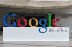Google Sign. A Google sign on view in central Bangkok as the internet giant announces the Thai capital has been added to its Street View utility on March 22 Stock Image