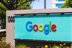 Google sign displayed in one of their campuses. May 3, 2018 Sunnyvale / CA / USA - Google sign in front of the entrance to one of their office buildings located royalty free stock photography
