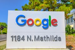 Google sign in Sunnyvale. Sunnyvale, CA, USA - August 12, 2018: Google Signs of new buildings in Sunnyvale, 1184 N Mathilda Ave, Silicon Valley. It is estimated stock image