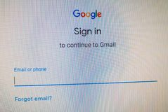 Google sign in website. Continue to Gmail with phone or username, password. royalty free stock photo