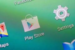Google spelar lagerapplikation Fotografering för Bildbyråer