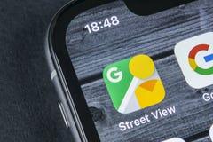 Google-Straßen-Ansichtanwendungsikone auf Apple-iPhone X Schirmnahaufnahme APP-Ikone Googles StreetView Google-Straßenansichtanwe Stockbilder