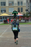 Google Street View camera operator at work Royalty Free Stock Photo
