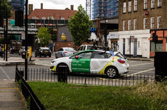Google Streetview car. LONDON, UK - JUNE 16, 2014:  A car being driven around Camberwell, South London taking pictures for Google Street View Royalty Free Stock Photography