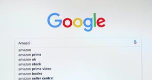 Google-Suchmaschine-Suche nach Amazonas stock video footage