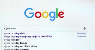 Google-Suchmaschine-Suche nach Cyber Montag stock footage