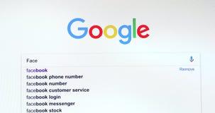 Google-Suchmaschine-Suche nach Facebook stock footage