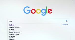 Google-Suchmaschine-Suche nach Twitter stock footage