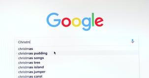 Google-Suchmaschine-Suche nach Weihnachten stock video