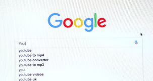 Google-Suchmaschine-Suche nach YouTube stock video