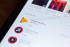 Google sztuki Muzyczna ikona w liście mobilni apps Ryazan Rosja, Marzec - 21, 2018 - Fotografia Stock