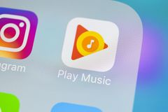 Google sztuki Muzyczna podaniowa ikona na Jabłczany X iPhone parawanowym zakończeniu Google sztuki app ikona Google sztuki muzyki Obraz Stock